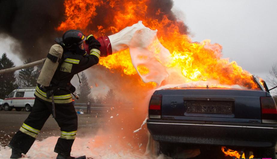Возгорание транспортного средства в городском округе Пушкино